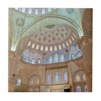 Carreau Plafond voûté intérieur coloré de mosquée bleue