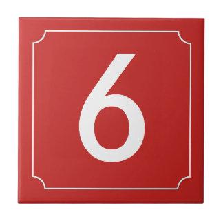 Carreau Plaquette rouge de nombre ou de lettre