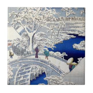 Carreau Pont et coucher du soleil en tambour d'Utagawa