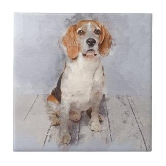 Carreau Portrait mignon d'aquarelle de beagle