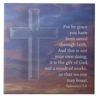 Carreau Pour par la croix et le coucher du soleil de grâce