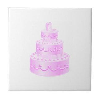 Carreau Pour toujours gâteau de mariage rose d'amour