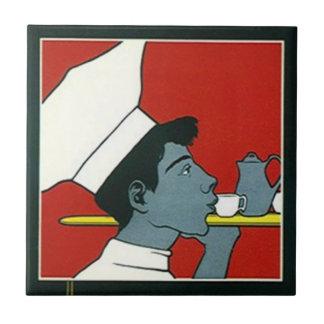 Carreau Profil vintage de thé de serveur de chef de