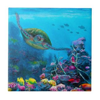 Carreau Récif tropical hawaïen de poissons de tortue de