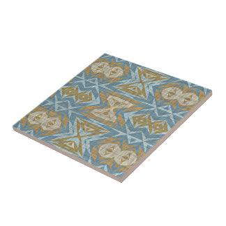 Carreau Regard ethnique éclectique bleu turquoise beige