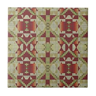 Carreau Regard ethnique éclectique rouge ocre de vert