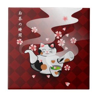 Carreau Repos de théière de chat de Maneki Neko Sakura de