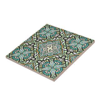 Carreau Rétro motif de Nouveau Deco de turquoise verte en
