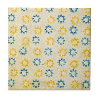 Carreau Rétro texture bleue et jaune vintage de pochoir de