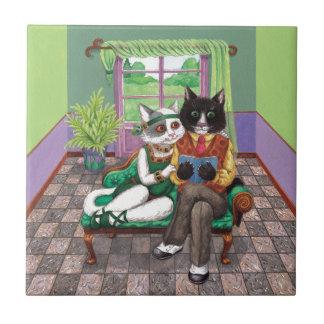Carreau Rétros chats lunatiques des années 1920