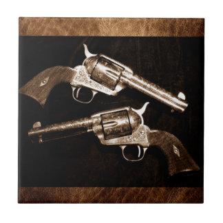 Carreau Rétros pistolets de pays occidental de cowboy