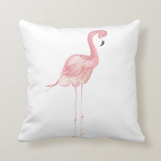 Carreau rose de flamant d 39 aquarelle coussin d coratif zazzle - Coussin flamant rose ...