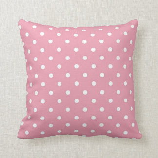 Carreau rose et blanc de point de polka coussin