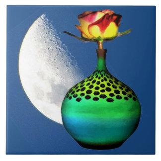 Carreau Rose jaune de recherche dans le motif vert de vase