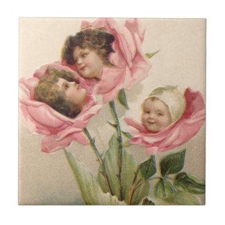 Carreau Rose rose de roses d'enfants mignons