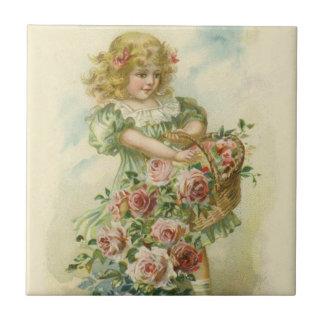 Carreau Roses mignons de rose de petite fille
