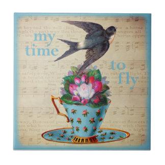Carreau Roses vintages de tasse de thé et oiseau