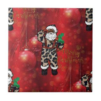 Carreau rouge africain de Claus de léopard de père Noël