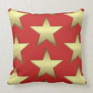 Carreau rouge d'étoile d'or coussin
