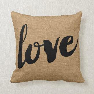 Coussin LOVE, imitation toile de jute