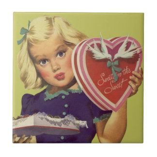 Carreau Saint-Valentin mignonne vintage, fille avec des