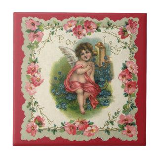Carreau Saint-Valentin victorienne vintage, ange au