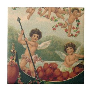 Carreau Saint-Valentin victorienne vintage, anges dans le