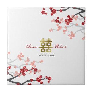 Carreau Sakura rouge fleurit tuile chinoise de cadeau d'or