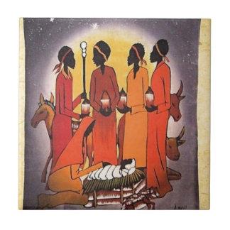 Carreau Scène africaine de nativité de Noël