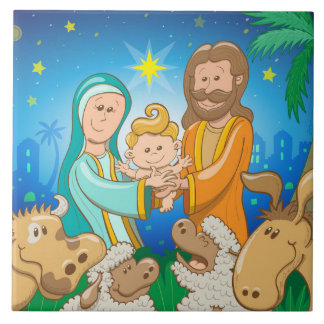 Carreau Scène douce de la nativité du bébé Jésus