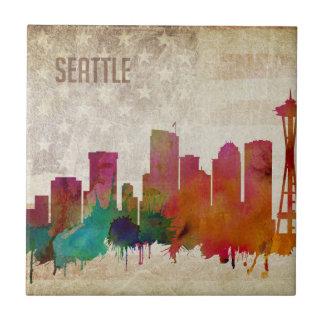 Carreau Seattle, horizon de ville d'aquarelle de WA |