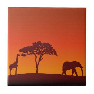Carreau Silhouette africaine de safari - tuile