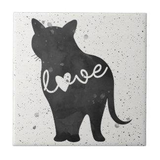 Carreau Silhouette d'aquarelle d'amour de Kitty KAT