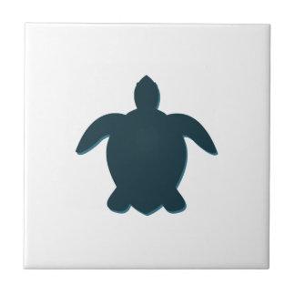 Carreau Silhouette de tortue de mer avec l'ombre
