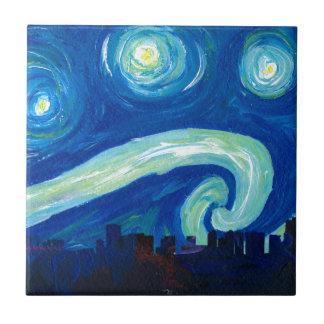Carreau Silhouette d'horizon de Houston avec la nuit