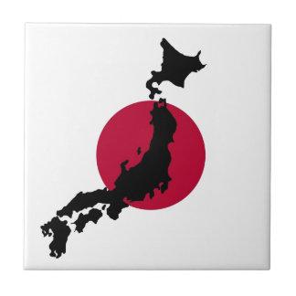 Carreau Silhouette du Japon au-dessus du drapeau national