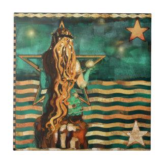 Carreau Sirène par la mer avec la lune et les étoiles