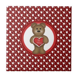 Carreau Soyez le mien, ours debout de Valentine, coeurs,