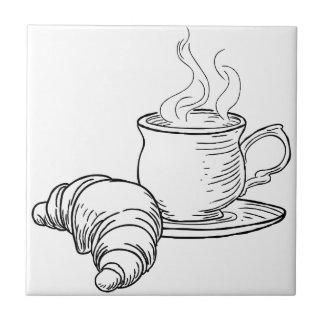 Carreau Tasse style vintage de thé et de croissant de