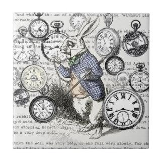 Carreau Temps blanc Alice de lapin au pays des merveilles