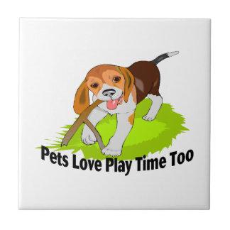 Carreau Temps de jeu d'amour d'animaux familiers aussi