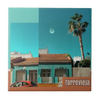 Carreau Torrevieja en orange et turquoise