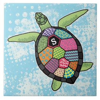 Carreau Tortue de mer colorée de monogramme de motif de