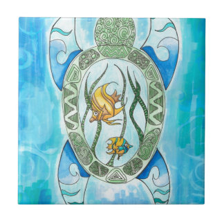 Carreau Tortue de mer verte hawaïenne de Hanu inspirée