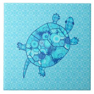 Carreau Tortue de remous de fractale - bleu de cobalt et