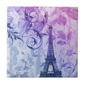 Carreau Tour Eiffel floral pourpre chic Girly de Paris