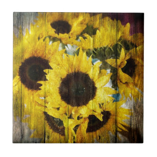 Carreau Tournesols en bois de pays occidental de grange