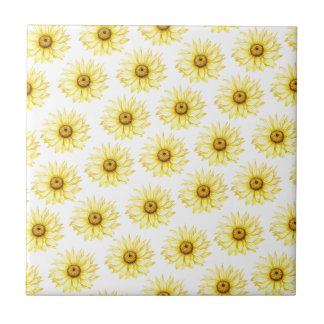 Carreau Tournesols sur le blanc