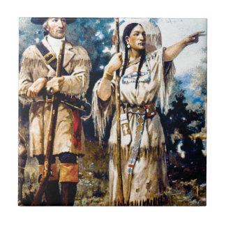 Carreau trappeur et femme indienne
