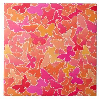 Carreau Troupeau des papillons, de l'orange rose et de